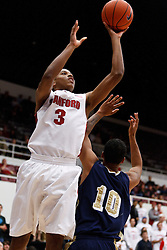 November 10, 2010; Stanford, CA, USA;  Stanford Cardinal guard/forward Anthony Brown (3) shoots over Cal State Monterey Bay Otters guard Darroll Phillips (10) during the second half at Maples Pavilion.  The Cardinal defeated the Otters 87-56.