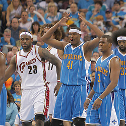 01 November 2008:  New Orleans Hornets forward James Posey (41) reacts after a foul is called on his blocked shot by Cleveland Cavaliers forward LeBron James (23) during a 104-92 win by the New Orleans Hornets over the Cleveland Cavaliers at the New Orleans Arena in New Orleans, LA..