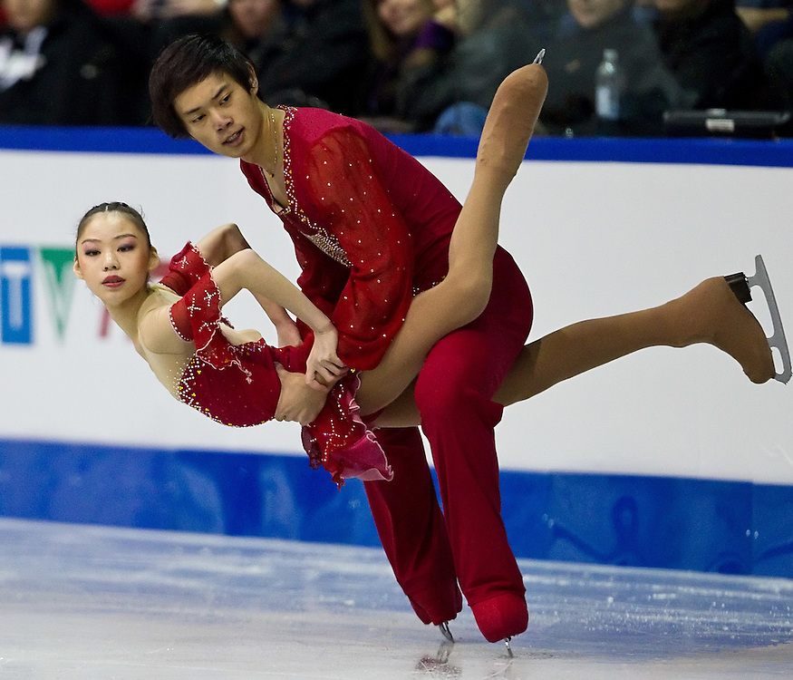 GJR326 -20111028- Mississauga, Ontario, Canada-  Xiaoyu Yu and Yang Jin of China skate their short program at Skate Canada International, October 28, 2011.<br /> AFP PHOTO/Geoff Robins