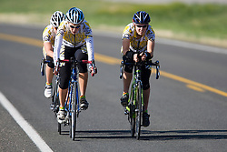 The Colorado College team of Amy Krull, Kasey Rumrill, and Kay Sherwood competes in the women's division 2 race.  The 2008 USA Cycling Collegiate National Championships Team Time Trial event was held near Wellington, CO on May 9, 2008.  Teams of 3 or 4 riders raced over a 20km out and back course that ran along a service road to Interstate 25.