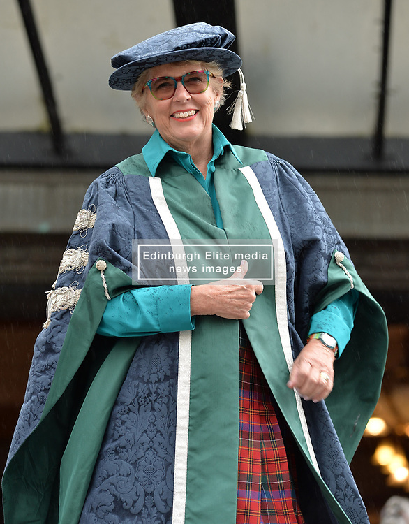 Food icon and judge of hit TV show 'the Great British Bake Off' Prue Leith celebrates becoming Chancellor of Queen Margaret University in Edinburgh.<br /> <br /> © Dave Johnston/ EEm
