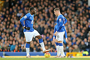 Everton  kick off after conceding during the Barclays Premier League match between Everton and Swansea City at Goodison Park, Liverpool, England on 24 January 2016. Photo by Simon Davies.