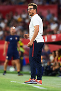 SEVILLE, SPAIN - AUGUST 10:  Head Coach of AS Roma Eusebio Di Francesco gives instructions to his players during a Pre Season Friendly match between Sevilla FC and AS Roma at Estadio Ramon Sanchez Pizjuan on August 10, 2017 in Seville, Spain. (Photo by Aitor Alcalde/Getty Images)