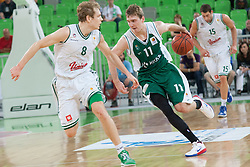 Zoran Dragic of Krka & Jaka Blazic of Union Olimpija during basketball match between KK Union Olimpija and KK Krka in 4nd Final match of Telemach Slovenian Champion League 2011/12, on May 24, 2012 in Arena Stozice, Ljubljana, Slovenia. Krka defeated Union Olimpija 65-55. (Photo by Grega Valancic / Sportida.com)