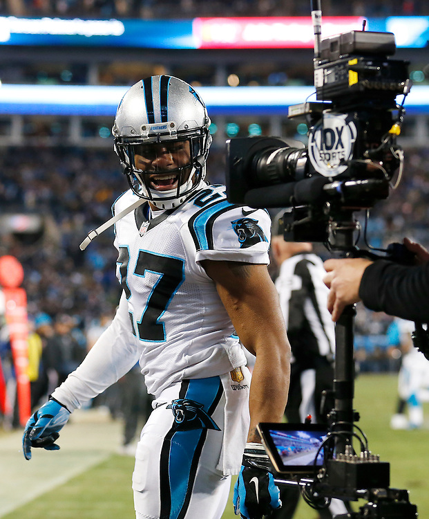 CHARLOTTE, NC - JAN 24:  Cornerback Robert McClain #27 of the Carolina Panthers talks to the camera during the NFC Championship game against the Arizona Cardinals at Bank of America Stadium on January 24, 2016 in Charlotte, North Carolina.