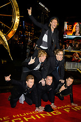 McBusted at The World Premiere of 'The Hunger Games: Catching Fire'. Leicester Square, London, United Kingdom. Monday, 11th November 2013. Picture by Chris Joseph / i-Images
