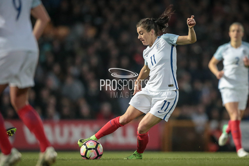Karen Carney (England) (Chelsea) cuts inside the Italy Ladies defender during the Women's International Friendly match between England Ladies and Italy Women at Vale Park, Burslem, England on 7 April 2017. Photo by Mark P Doherty.
