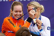 Podium, Time Trial Women 32,3 km , Ellen Van Dijk (Netherlands) gold medal, Anna Van Der Breggen (Netherlands) silver medal, during the Road Cycling European Championships Glasgow 2018, in Glasgow City Centre and metropolitan areas Great Britain, Day 7, on August 8, 2018 - photo Luca Bettini / BettiniPhoto / ProSportsImages / DPPI<br /> - restriction - Netherlands out, Belgium out, Spain out, Italy out