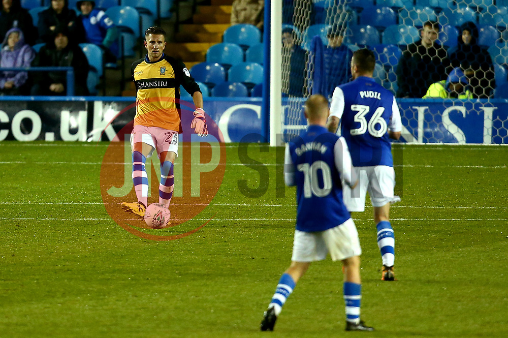 Sam Hutchinson of Sheffield Wednesday passes the ball as takes up the role of Goalkeeper after an injury forces Joe Wildsmith of Sheffield Wednesday off the field - Mandatory by-line: Robbie Stephenson/JMP - 08/08/2017 - FOOTBALL - Hillsborough - Sheffield, England - Sheffield Wednesday v Chesterfield - Carabao Cup