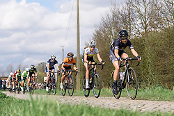 Audrey Cordon across the cobbles - Grand Prix de Dottignies 2016. A 117km road race starting and finishing in Dottignies, Belgium on April 4th 2016.