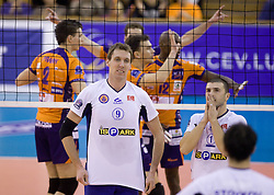 Madsen Ryan Millar and Ulas Kiyak of Istanbul at volleyball match of CEV Indesit Champions League Men 2009/2010 between ACH Volley Bled (SLO) and Istanbul Buyuksehir BLD (TUR), on December 9, 2009 in Arena Tivoli, Ljubljana, Slovenia. (Photo by Vid Ponikvar / Sportida)
