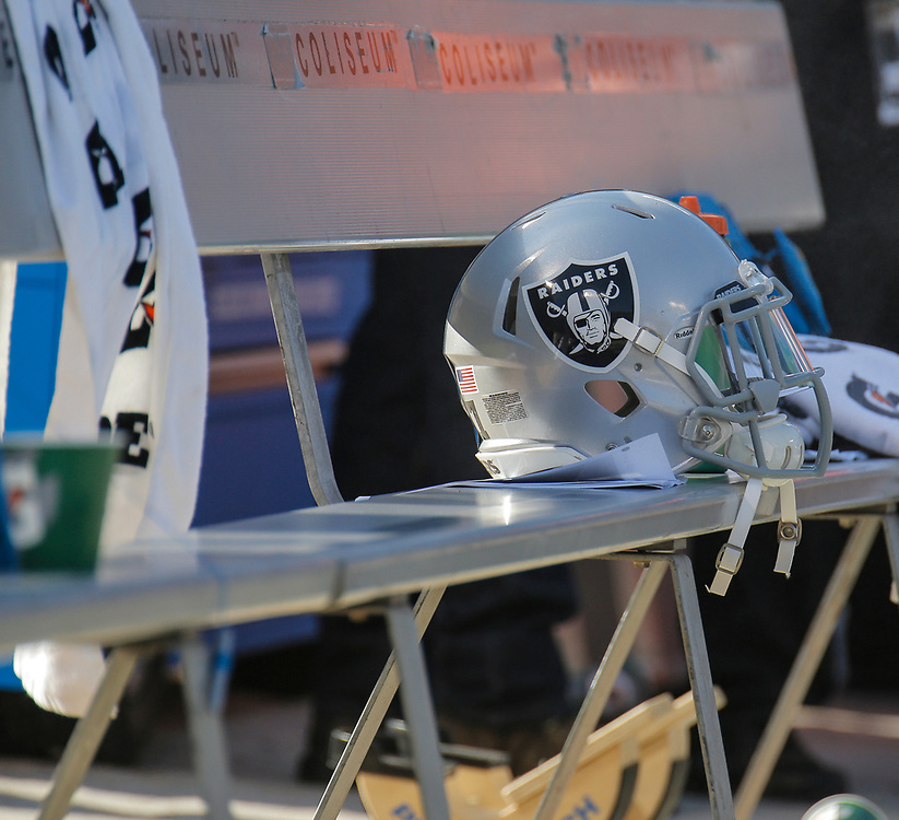 Sep 20 2015 - Oakland U.S. CA - Oakland Raiders helmet during NFL Football game between Baltimore Ravens and the Oakland Raiders 37- 33 win at O.co Coliseum Stadium Oakland Calif. Thurman James
