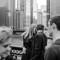 Kate & Gabe pictured on the DuSable Bridge along Michigan Avenue in downtown Chicago Saturday, October 15, 2016.