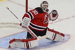 Jan 22, 2013; Newark, NJ, USA; New Jersey Devils goalie Martin Brodeur (30) watches the puck go wide of his net during the second period at the Prudential Center.