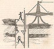 Man-engine or movable ladder, also called The Man Lifter, various designs of which were adopted in Cornish mines. This model was at Tresavean Mine, Cornwall, said to be the first mine to install one.  Powered by the steam engine at the pithead and moved with the regular stroke the miners moved alternately from footholds on  A and B in the pause at the end of each stroke.  Before the installation of man-engines, it could take men more than an hour to climb down vertical ladders to reach the working level. From 'The Playbook of Metals' by John Henry Pepper (London, 1862).