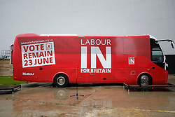 © Licensed to London News Pictures. 10/05/2016. London, UK. The LABOUR IN FOR BRITAIN battle bus parked before it's official unveiling by Labour Party leader Jeremy Corbyn and Alan Johnson, Chairman of 'Labour In for Britain'.  Gloria De Piero, Shadow Minister for Young People and Voter Registration is also due to attend. Photo credit: Peter Macdiarmid/LNP