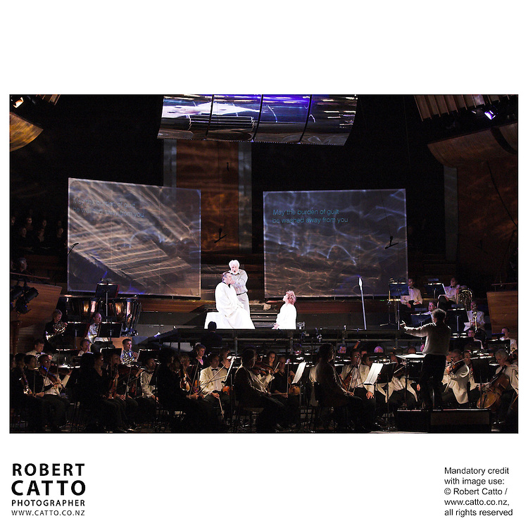The NZSO performs under the baton of conductor Anthony Negus, with Sir Donald McIntyre, Simon O'Neill, and Margaret Medlyn in Wagner's Parsifal, at the Michael Fowler Centre, Wellington New Zealand.