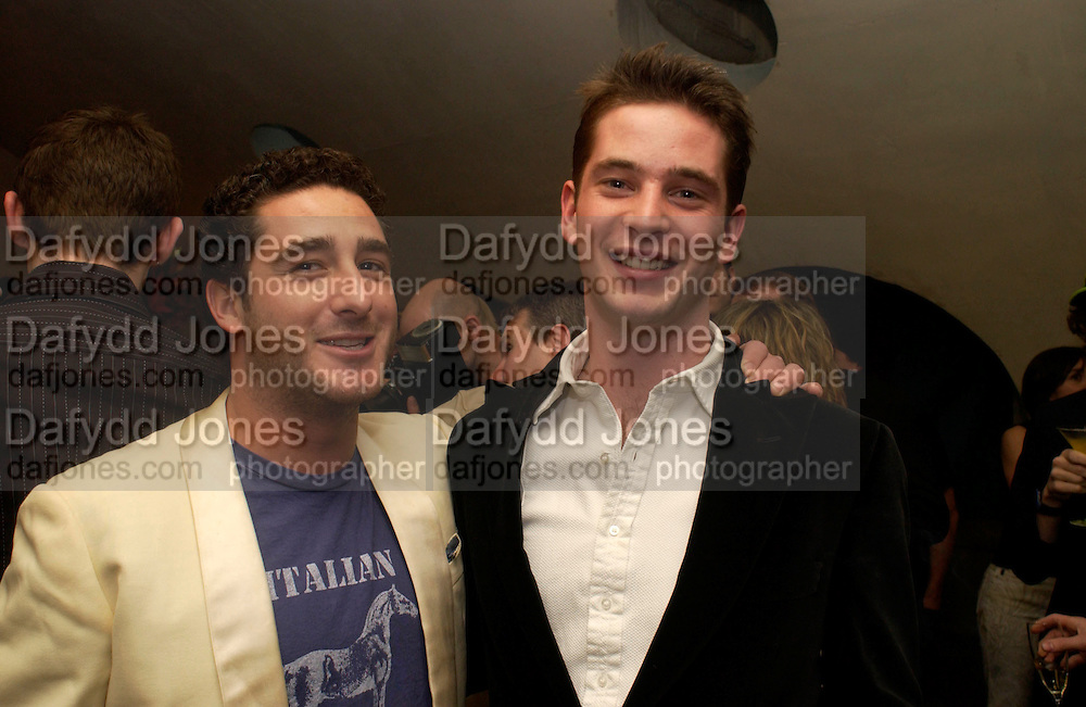 Luca de Bono and James Tolemache, Playboy and Beat celebrate Playboy's 50th anniversary Designer collection. Adam St. club. 19 March 2004. ONE TIME USE ONLY - DO NOT ARCHIVE  © Copyright Photograph by Dafydd Jones 66 Stockwell Park Rd. London SW9 0DA Tel 020 7733 0108 www.dafjones.com