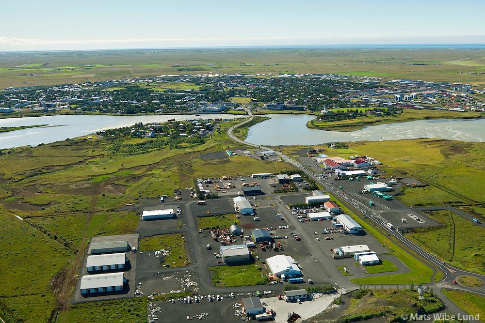 Selfoss séð til suðurs. Iðnaðarhverfi fremst.  Sveitarfélagið Árborg /  Selfoss viewing south,  Industrial region in foreground. Sveitarfelagid Arborg.