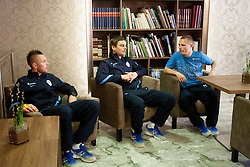 Jasmin Kurtic, Nejc Pecnik and Martin Milec at the reception of Slovenian footballers before going on friendly match in Algeria, on 3rd March 2014, in Brdo pri Kranju, Slovenia. Photo by Urban Urbanc / Sportida.com