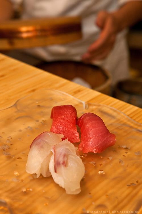Sushi prepared by Hiroyuki Kanda at the Kanda restaurant in Tokyo.