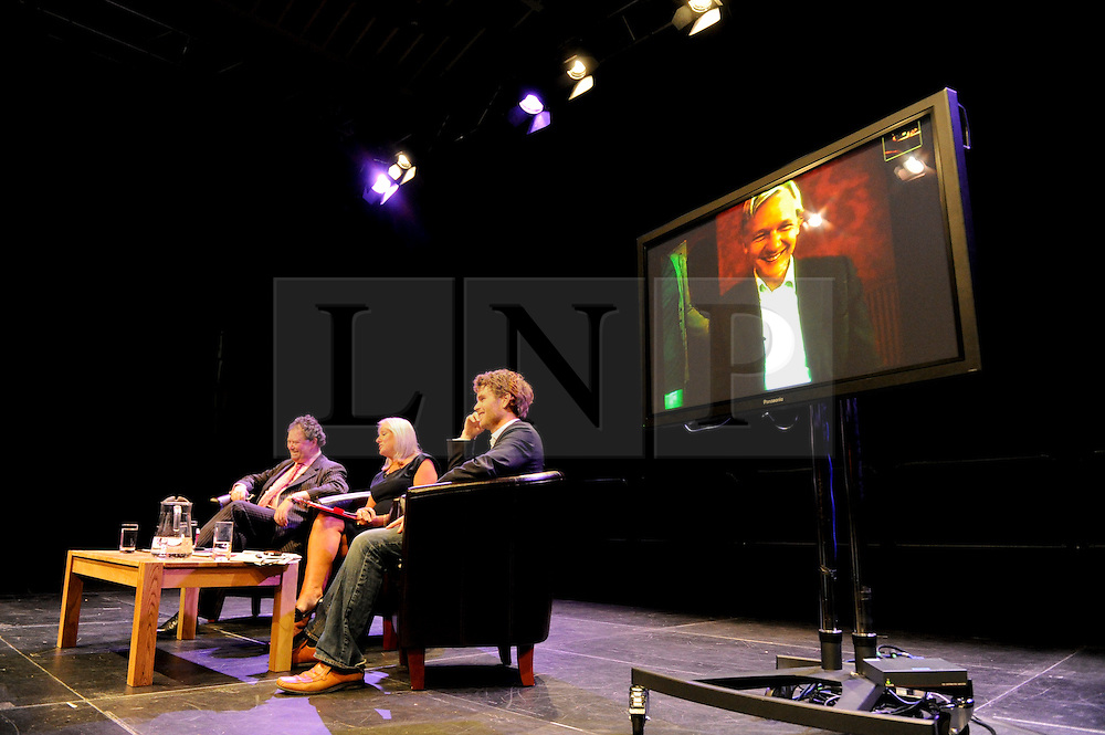 © licensed to London News Pictures. Brighton, UK. 21/05/2011. Mark Stephens QC, Sue Stapley, Dr Martin Morris and Julian Assange (via video link) speak at a debate about Freedom of Speech entitled Article 19 at the Brighton Festival 2011. Please see special instructions for licensing information. Photo credit should read: Peter Webb/LNP