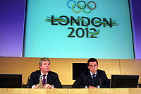 OL 2012<br /> Foto: Colorsport/Digitalsport<br /> NORWAY ONLY<br /> <br /> Seb Coe (Chairman), speaks for the first time after Winning the Olympic bid for 2012. Keith Mills (Chief Executive) left. Olympic Press Coference. Canary Wharf.London. 15/7/2005.