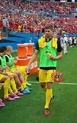CHARLOTTE, USA - Saturday, August 2, 2014: Liverpool's substitute captain Steven Gerrard before the International Champions Cup Group B match against AC Milan at the Bank of America Stadium on day thirteen of the club's USA Tour. (Pic by David Rawcliffe/Propaganda)
