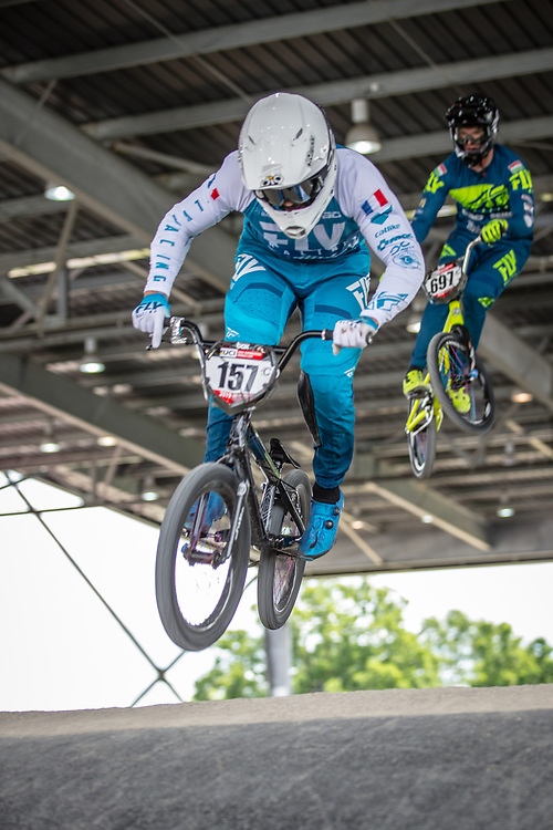 #157 (DEUMIE Valentin) FRA at Round 6 of the 2019 UCI BMX Supercross World Cup in Saint-Quentin-En-Yvelines, France