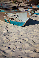 Old traditional fishing boat  named Boracay, on White Sand Beach, boracay island, Philippines.