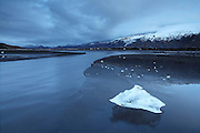 Stranded icecube in Markarfljót after the erupting volcano in Eyjafjallajökull caused a flod