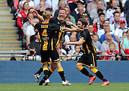 Chris Swailes (c) of Morpeth Town AFC celebrates scoring to make it 1-1  during the FA Vase Final at Wembley Stadium, London<br /> Picture by Simon Moore/Focus Images Ltd 07807 671782<br /> 22/05/2016