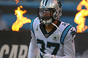 Carolina Panthers defensive back Quin Blanding (37) enters the field through flames during a NFL football game against the Pittsburgh Steelers, Thursday, Aug. 29, 2019, in Charlotte, N.C. The Panthers defeated the Steelers 25-19.  (Brian Villanueva/Image of Sport)