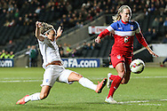 Jodie Taylor of England Womens (left) can't connect with the ball as Whitney Engen of USA Women watches the ball out during the International Friendly match at stadium:mk, Milton Keynes<br /> Picture by David Horn/Focus Images Ltd +44 7545 970036<br /> 13/02/2015