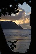 Hanalei Bay, Kauai, Hawaii, the view from below the Princeville Resort