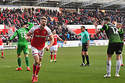 Referee points to the penalty spot after Rotherham United player Michael Smith (24) is fouled by Doncaster Rovers goalkeeper Marko Marosi (13) during the EFL Sky Bet League 1 match between Rotherham United and Doncaster Rovers at the AESSEAL New York Stadium, Rotherham, England on 24 February 2018. Picture by Ian Lyall.