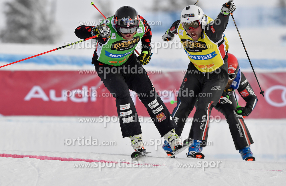 12.02.2017, Idre Fj&auml;ll, SWE, FIS Weltcup Ski Cross, Idre Fj&auml;ll, im Bild A-Finale, Brady Leman gewinnt vor Arnaud Bovolenta // during the FIS Ski Cross World Cup in Idre Fj&auml;ll, Sweden on 2017/02/12. EXPA Pictures &copy; 2017, PhotoCredit: EXPA/ Nisse Schmidt<br /> <br /> *****ATTENTION - OUT of SWE*****