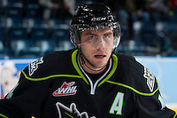 KELOWNA, CANADA -FEBRUARY 7: Riley Kieser #14 of the Edmonton Oil Kings warms up against the Kelowna Rockets on February 7, 2014 at Prospera Place in Kelowna, British Columbia, Canada.   (Photo by Marissa Baecker/Getty Images)  *** Local Caption *** Riley Kieser;
