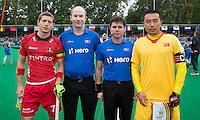 ANTWERP -    John-John  Dohmen (l),  referee Gareth Greenfield,  referee Diego Barbas en Tianjun Sun (r) before  the match of the men  Belgium v China.  WSP COPYRIGHT KOEN SUYK
