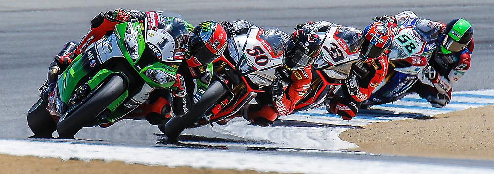 Jul 12-13 2014 U.S.A # 1 Tom Sykes # 50 Sylvain Guintoli # 33 Marco Melandri # 58 Eugene Laverty in turn 2    during the FIM Superbike World Championship Laguna Sega, Salinas ca