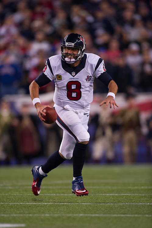 FOXBORO, MA - JANUARY 13:  Quarterback Matt Schaub #8 of the Houston Texans runs with the ball during the AFC Divisional Playoff against the New England Patriots at Gillette Stadium on January 13, 2013 in Foxboro, Massachusetts.(Photo by Rob Tringali) *** Local Caption *** Matt Schaub