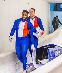 18.01.2020, Olympia Eiskanal, Innsbruck, AUT, BMW IBSF Weltcup Bob und Skeleton, Igls, Bob Zweisitzer, Herren 2. Lauf, im Bild Dorian Hauterville, Romain Heinrich (FRA) // Dorian Hauterville Romain Heinrich of France reacts after his 2nd run of men's doubles Bobsleigh of BMW IBSF World Cup at the Olympia Eiskanal in Innsbruck, Austria on 2020/01/18. EXPA Pictures © 2020, PhotoCredit: EXPA/ Stefan Adelsberger
