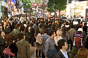 Friday evening crowd in the Shibuya district of Tokyo Japan