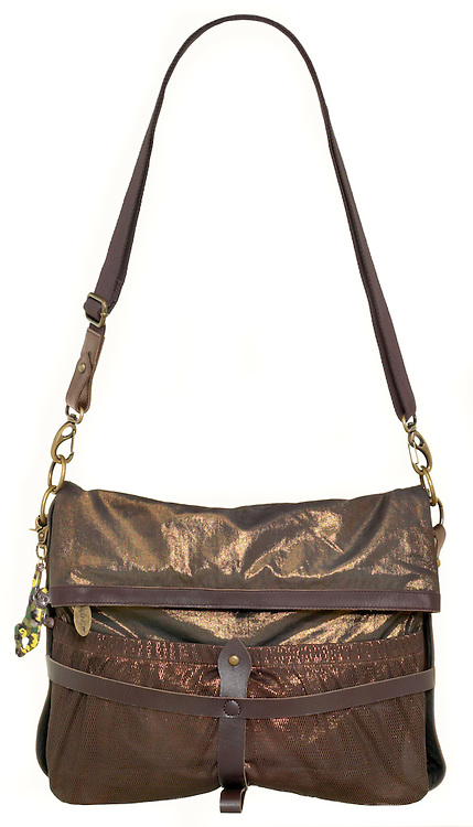 shiny gold and brown kipling satchel