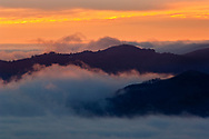 Fog at sunset over San Francisco Bay, California