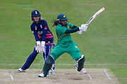 Pakistan womens cricket player Ayesha Zafar pulls the ball  during the ICC Women's World Cup match between England and Pakistan at the Fischer County Ground, Grace Road, Leicester, United Kingdom on 27 June 2017. Photo by Simon Davies.