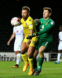 Matt Taylor of Bristol Rovers battles for the ball with David Martin of Milton Keynes Dons - Mandatory by-line: Robbie Stephenson/JMP - 18/10/2016 - FOOTBALL - Stadium MK - Milton Keynes, England - Milton Keynes Dons v Bristol Rovers - Sky Bet League One