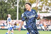 Leeds United midfielder Helder Costa (17) scores a goal and celebrates to make the score 1-1 during the Pre-Season Friendly match between Guiseley  and Leeds United at Nethermoor Park, Guiseley, United Kingdom on 11 July 2019.