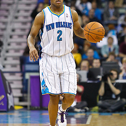 February 1, 2011; New Orleans, LA, USA; New Orleans Hornets point guard Jarrett Jack (2) against the Washington Wizards during the second quarter at the New Orleans Arena.   Mandatory Credit: Derick E. Hingle