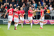 Salford City forward Adam Rooney celebrates his goal during the EFL Sky Bet League 2 match between Salford City and Cambridge United at Moor Lane, Salford, United Kingdom on 12 October 2019.